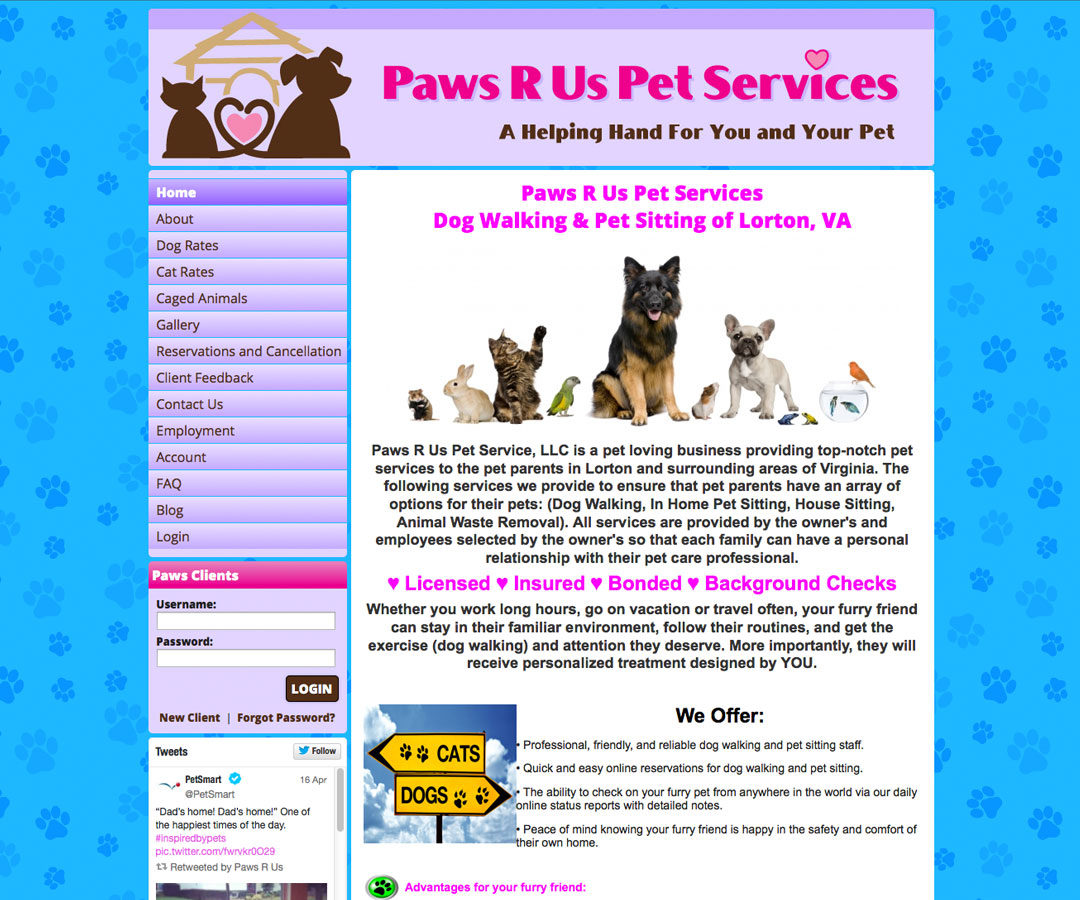 Paws R Us website